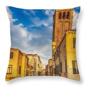 Venice Sunset View Of Two Towers From The Ponte San Barnaba On The Fondamenta Rezzonica Throw Pillow