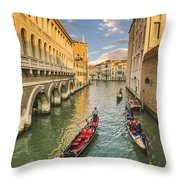 Venice View To The Grand Canal From The Calle Foscari Bridge Throw Pillow