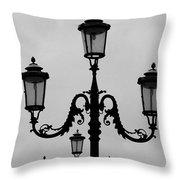 Venitian Lamp Posts Bw Throw Pillow