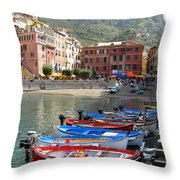 Vernazza's Harbor Throw Pillow