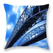 Very Blue Water Bridge  Throw Pillow