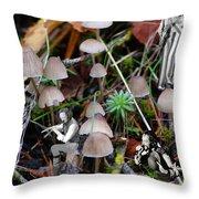 Very Tull Mushrooms Throw Pillow