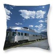 Via Rail Canada Train Waiting At Jasper Throw Pillow