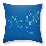 Viagra Molecular Structure Blueprint Throw Pillow by Nikki Marie Smith