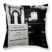 Vials Of Tetanus Antitoxin Throw Pillow by Science Source