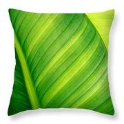Vibrant Green Leaf Throw Pillow
