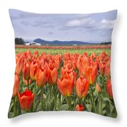 Vibrant Orange Spring Throw Pillow