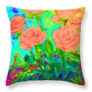 Vibrant Roses Throw Pillow