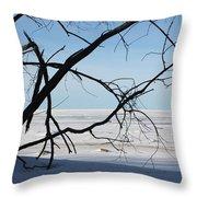 Victoria Beach Winter Throw Pillow
