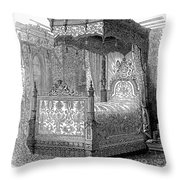 Victorian Bed, 1846 Throw Pillow