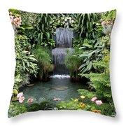Victorian Garden Waterfall - Digital Art Throw Pillow