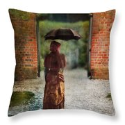 Victorian Lady By Brick Archway Throw Pillow