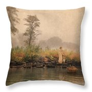 Victorian Lady By Row Boat Throw Pillow