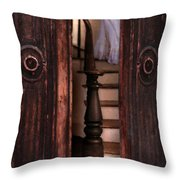 Victorian Lady Descending Stairs Throw Pillow