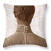 Victorian Lady From Behind Throw Pillow