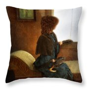Victorian Lady Gazing Out The Window Throw Pillow