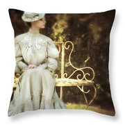 Victorian Lady On Garden Bench Throw Pillow