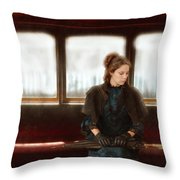 Victorian Lady On Street Car Throw Pillow
