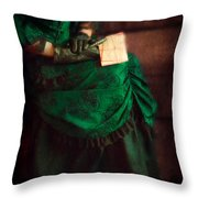 Victorian Lady With Letters Throw Pillow