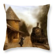Victorian Woman At Train Station Throw Pillow