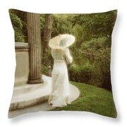 Victorian Woman In Garden With Parasol Throw Pillow