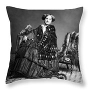Victorian Woman With Furs C. 1853 Throw Pillow