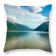 View Above A Beautiful Lake During Mid Day Throw Pillow