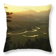 View At Dawn Of The Tuolumne River Throw Pillow