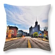 View Down Broadway Into Downtown Buffalo Ny Throw Pillow