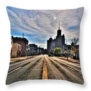 View Down Broadway Into Downtown Buffalo Ny Vert Throw Pillow