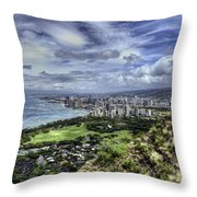 View From Diamond Head Throw Pillow