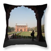 View From Inside The Red Fort With Tourist Throw Pillow