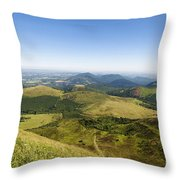 View From Puy De Dome Onto The Volcanic Landscape Of The Chaine Des Puys. Auvergne. France Throw Pillow