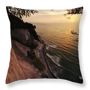 View Looking Down Cliffs At Sunset Throw Pillow