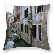 View Of A Canal In A Quiet Residential Throw Pillow