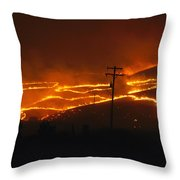 View Of A Forest Fire Near Boise, Idaho Throw Pillow