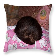View Of A Mother Holding Her Baby With Only The Hair On The Head Visible Throw Pillow