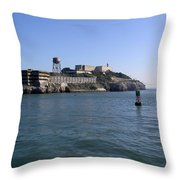 View Of Alcatraz From A Boat That Is Leaving The Island Throw Pillow