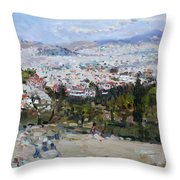 View Of Athens From Acropolis Throw Pillow