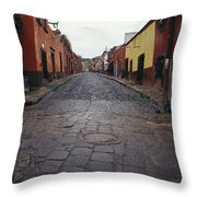 View Of Cobblestone Streets In San Throw Pillow
