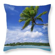 View Of Deserted Beach From Tapuae Tai Throw Pillow