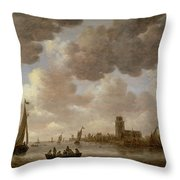 View Of Dordrecht Downstream From The Grote Kerk Throw Pillow