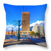 View Of Downtown Buffalo From The Tracks Throw Pillow