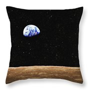 View Of Earth From The Moons Surface Throw Pillow