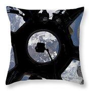 View Of Earth Through The Cupola Throw Pillow