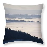 View Of Fog-covered Willamette Valley Throw Pillow