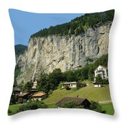 View Of Greenery And Waterfalls On A Swiss Cliff Throw Pillow