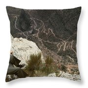 View Of Hiking Trails From High Above Throw Pillow