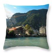 View Of Interlaken Across The Stream Throw Pillow