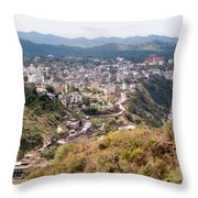 View Of Katra Township While On The Pilgrimage To The Vaishno Devi Shrine In Kashmir In India Throw Pillow